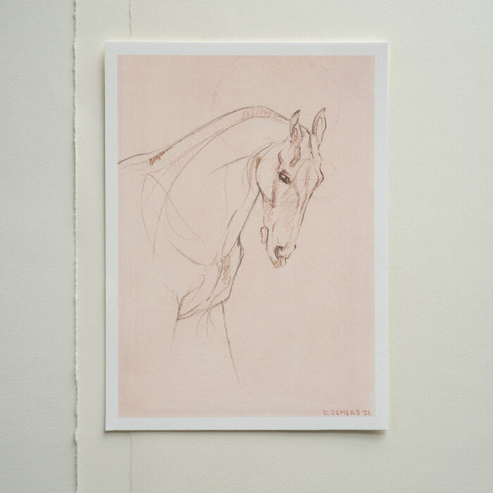 Print reproduction of a mixed-media drawing of a horse by artist Danielle Demers