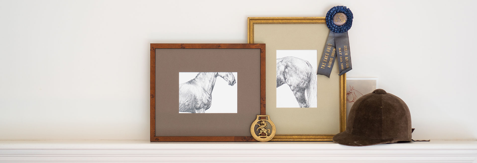 framed prints of graphite drawings of horses by danielle demers